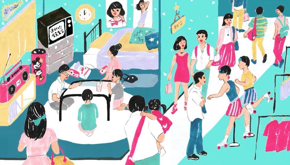 大丸松坂屋百貨店のオウンドメディア「F.I.N」テレビ東京プロデューサーの佐久間宣行さんが考える、80年代リバイバルフロアのイラストレーション