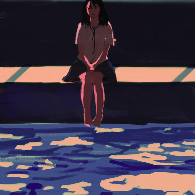 イラストレーション 人物 プール 夏 草野碧