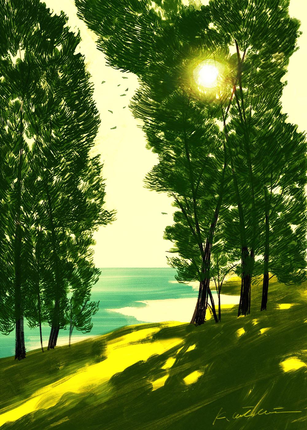 イラストレーション 風景 木 海 そよ風