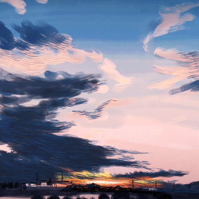 イラストレーション 風景 雲 空