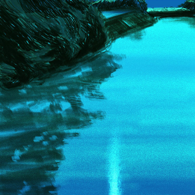 イラストレーション 風景 木 森 湖 夜 月