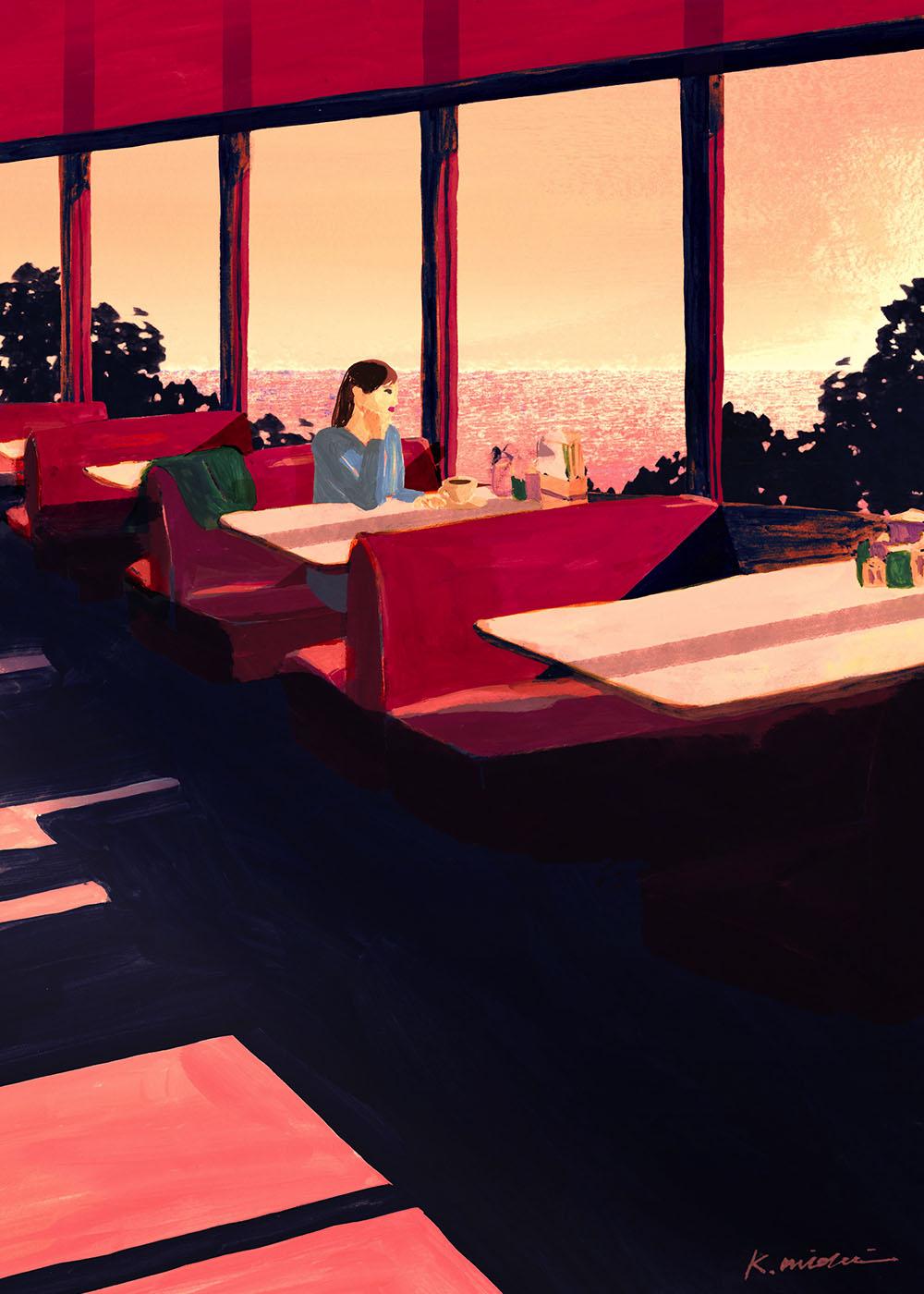 イラストレーション 人物 夕暮れ 海の見えるレストラン