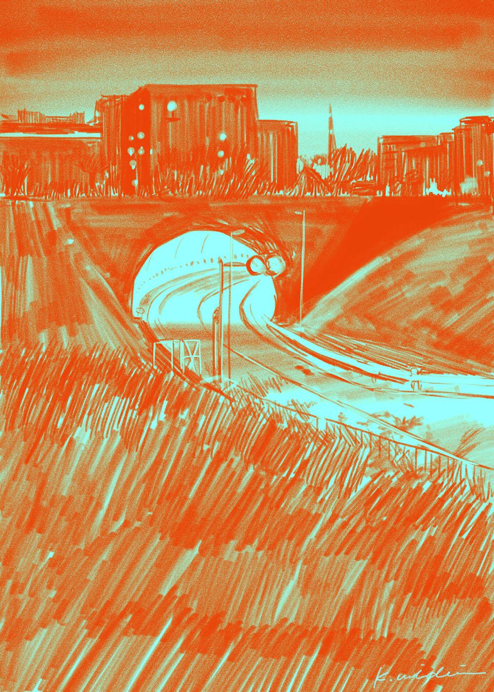 イラストレーション 風景 トンネル