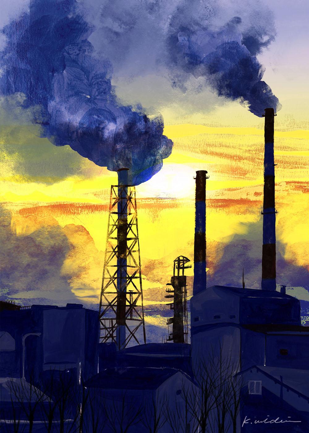 イラストレーション 風景 煙突
