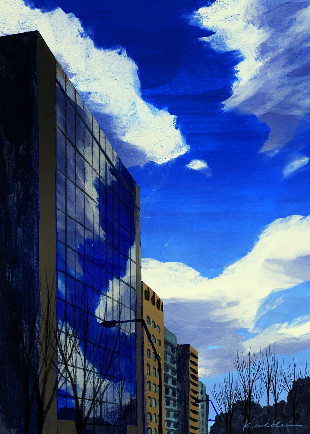 イラストレーション 風景 空 雲 ビル