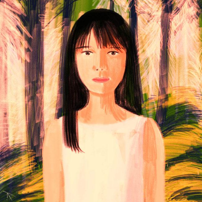 イラストレーション 人物 少女 アンニュイ 森ガール