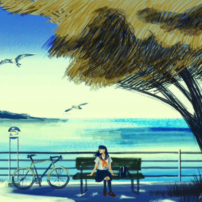 イラストレーション 人物 少女 海 夏 学生