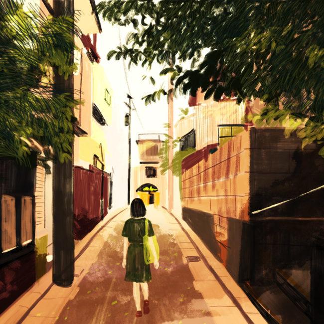 イラストレーション 人物 少女 裏路地 ノスタルジック