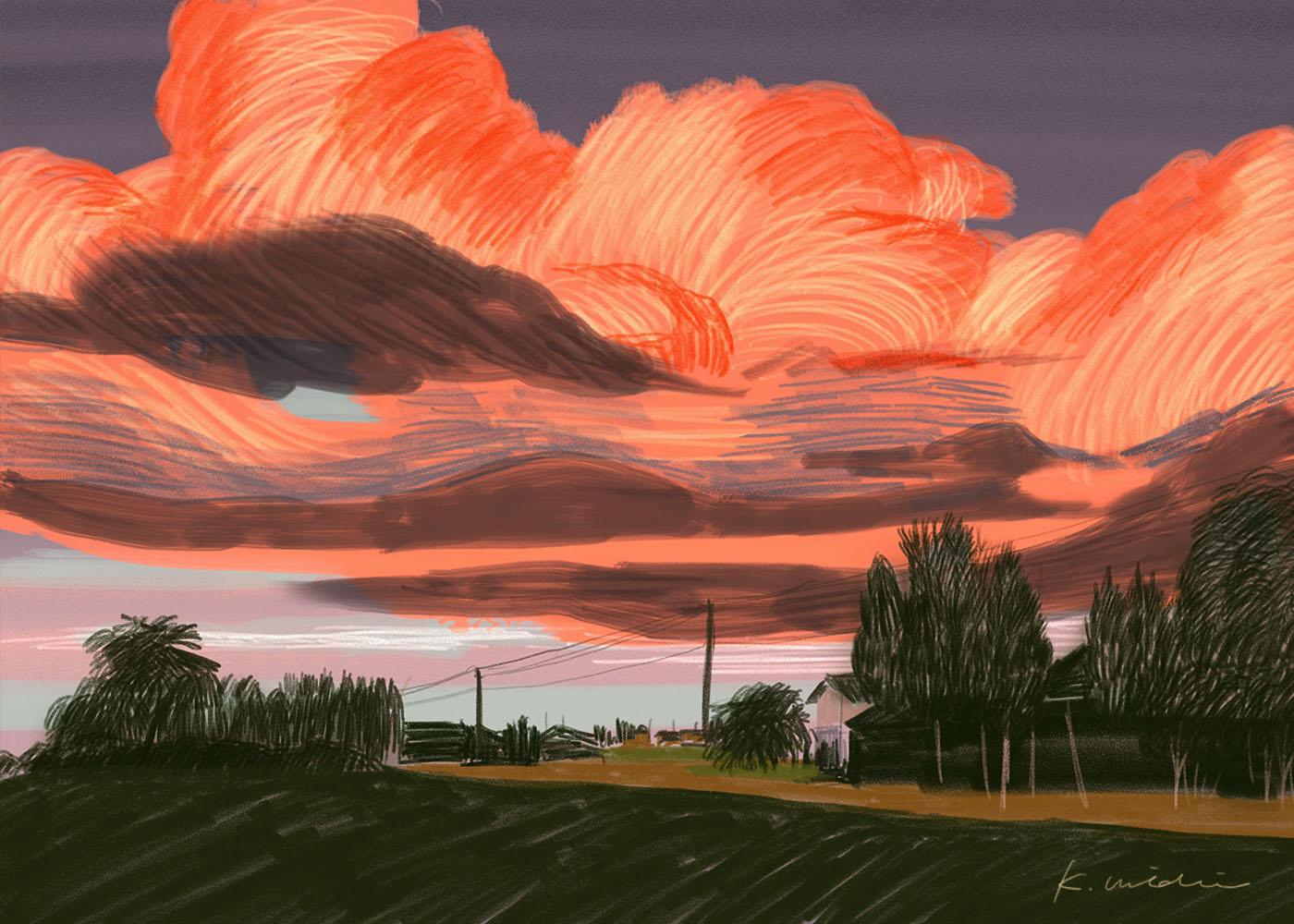 イラストレーション 風景 雲 ノスタルジック