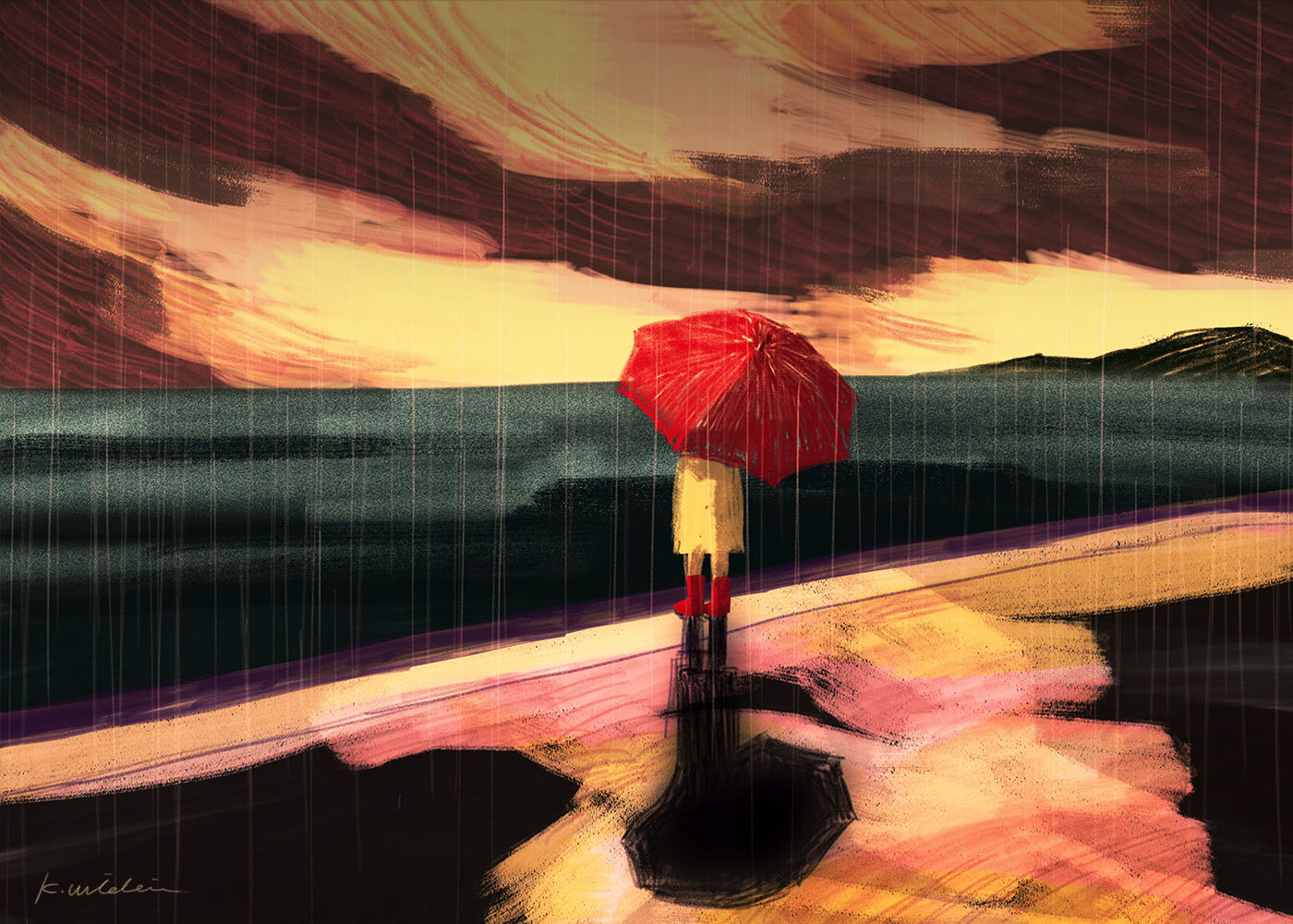 イラストレーション 風景 空 海 雨