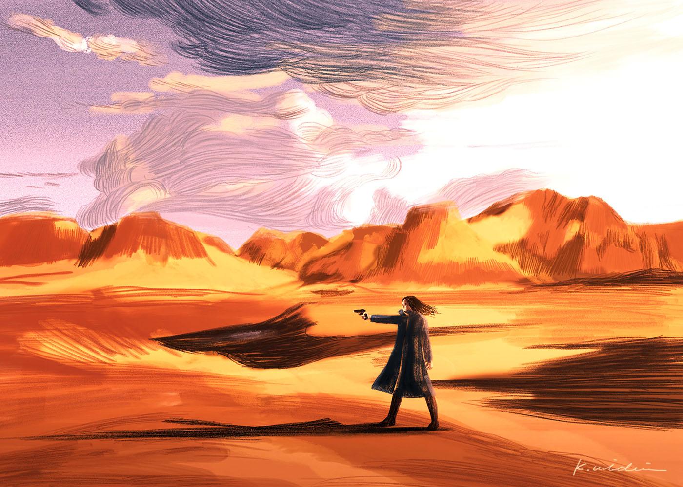 イラストレーション 風景 荒野 少女 夕景 雲