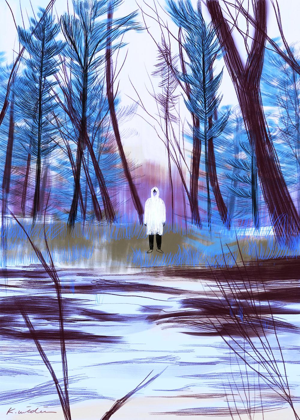 イラストレーション 風景 森 冬 ミステリー