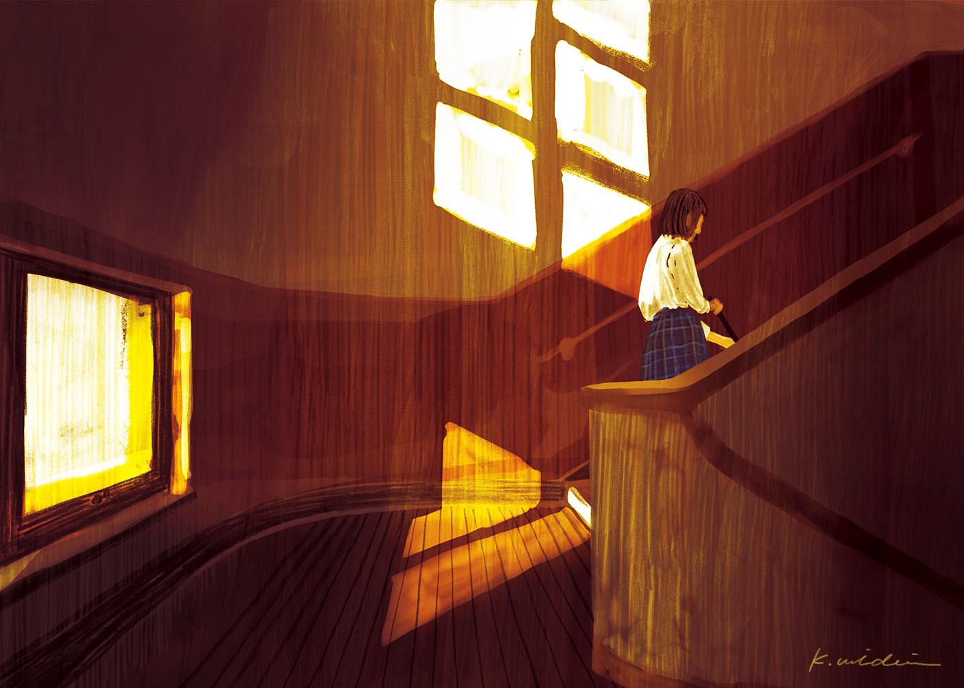 イラストレーション 風景 夕景 放課後 少女 学校 校舎 窓 装画