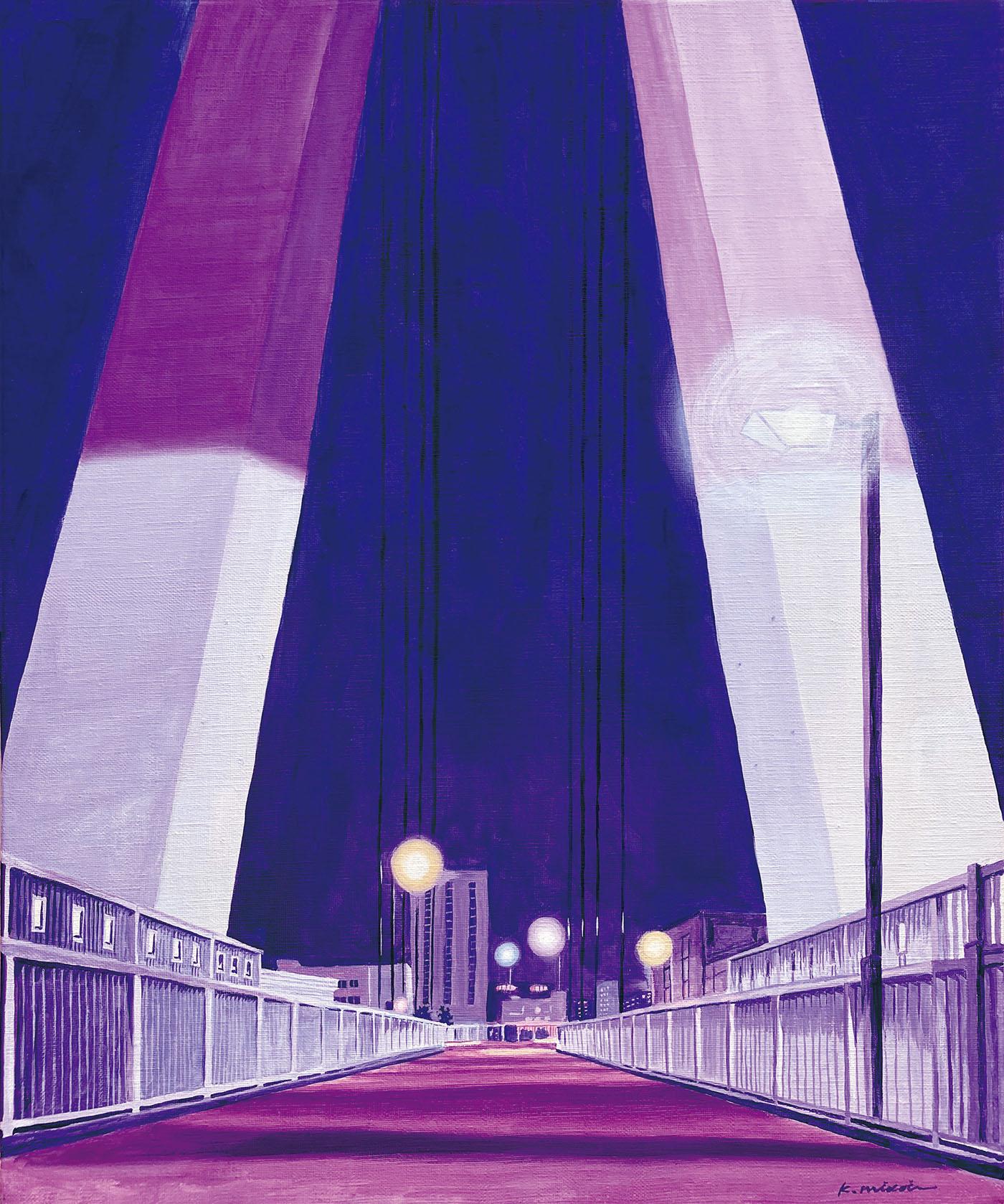 イラストレーション 草野碧 風景 橋 夜 ノスタルジック