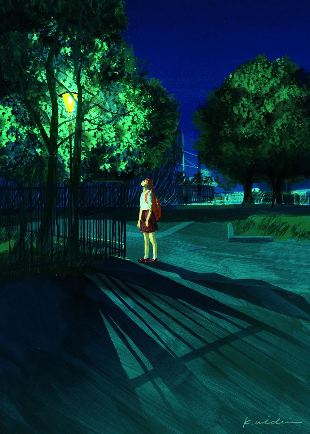 イラストレーション 人物 少女 木 ノスタルジック 夜