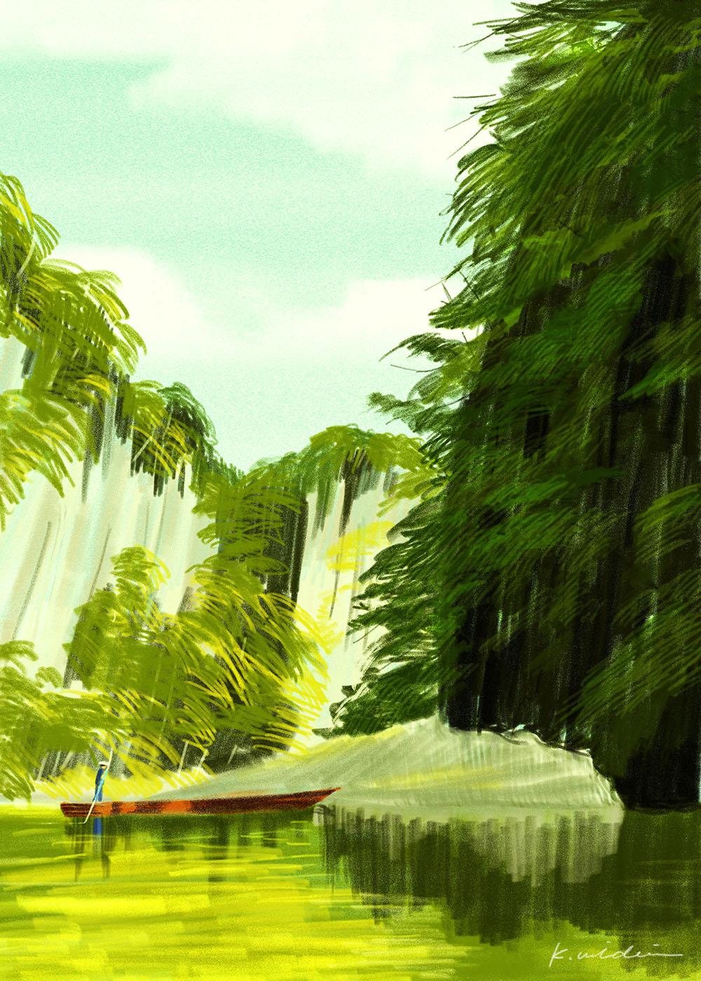 イラストレーション 風景 岩山 山
