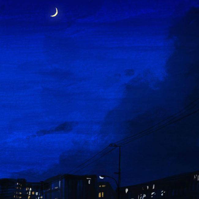 イラストレーション 風景 空 月 夜