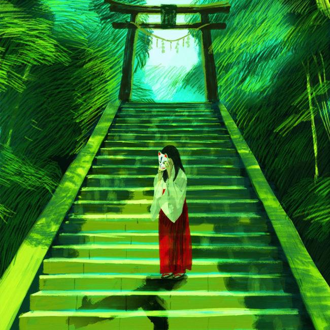 イラストレーション 人物 少女 神社 巫女