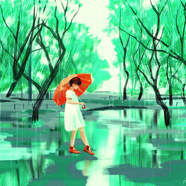 イラストレーション 人物 少女 木 ノスタルジック 雨