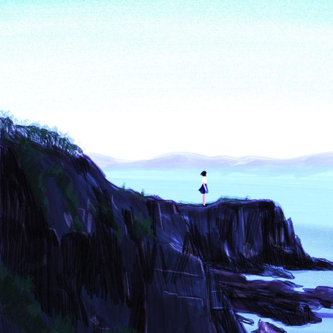 イラストレーション 風景 海 少女 ノスタルジック
