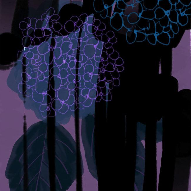 イラストレーション 風景 花 紫陽花 あじさい 抽象画