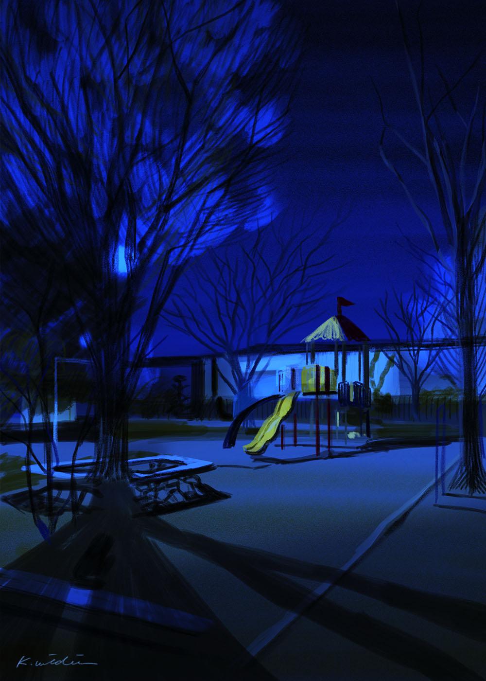 イラストレーション 風景 空 公園 夜