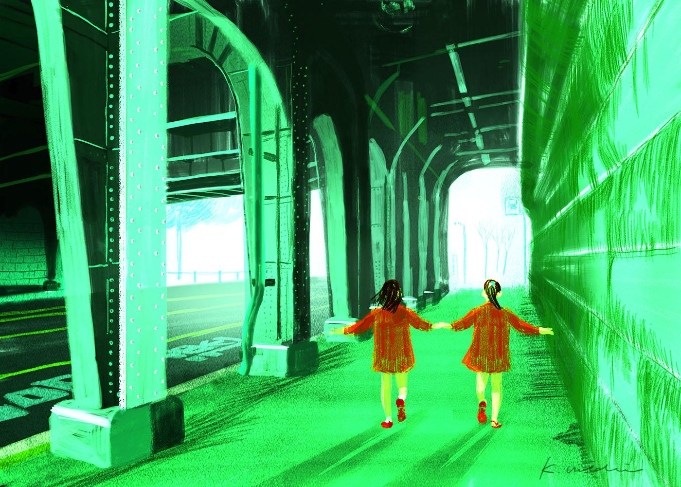 イラストレーション 風景 トンネル 少女