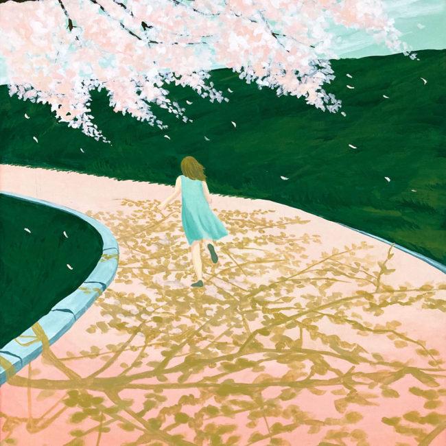 イラストレーション 草野碧 風景 桜 少女 ノスタルジック